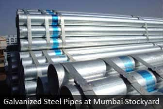 Galvanized pipe at mumbai stockyard